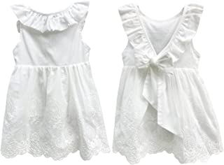 Abalaco Girl Cotton Backless Breathable Sleeveless Summer Tutu Daily Wear Princess Dress