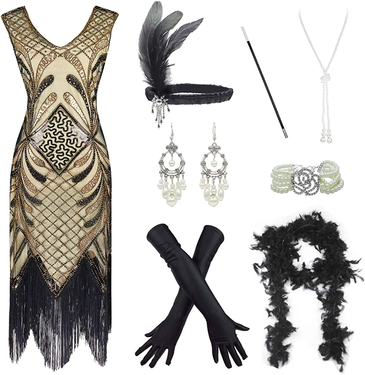 Women 1920s Sequin Time sale Beads Fringed Dress Flapper 20s Cocktail Fixed price for sale Plus