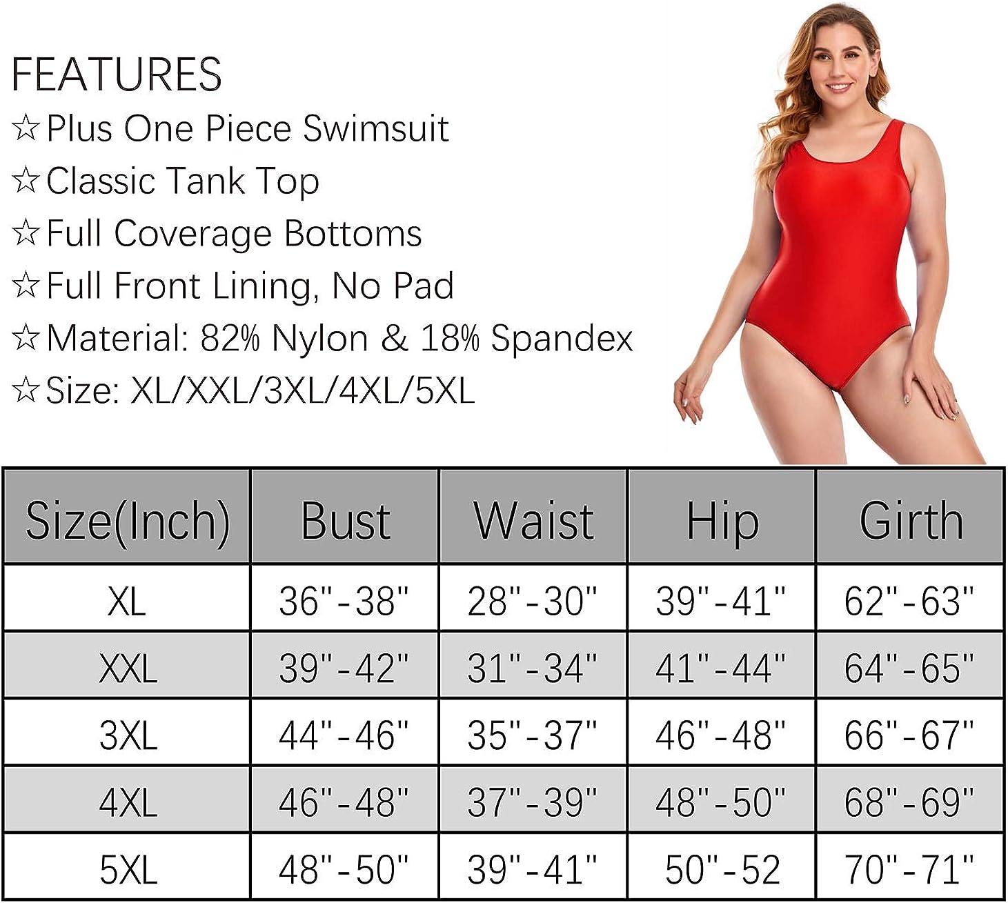 Annbon Women's One Piece Swimsuit Retro Plus Size Bathing Suit Conservative Monokini Swimwear