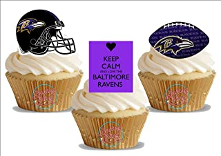 American Football Baltimore Ravens Trio Mix - Fun Novelty Birthday PREMIUM STAND UP Edible Wafer Card Cake Toppers Decoration