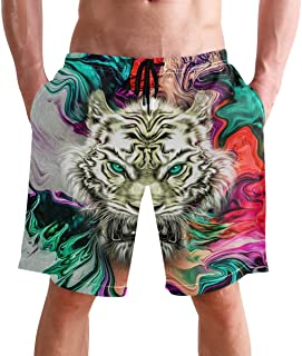 Beach Shorts, Wolf Animal Colorful Printed Mens Trunks Swim Short Quick Dry with Pockets for Summer Surfing Boardshorts Ou...