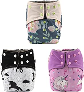 Sigzagor 3 AIll in One Night AIO Cloth Diapers Nappy Bulit in Charcoal Bamboo Insert Reusable Washable for Girls (Unicorn Pack)