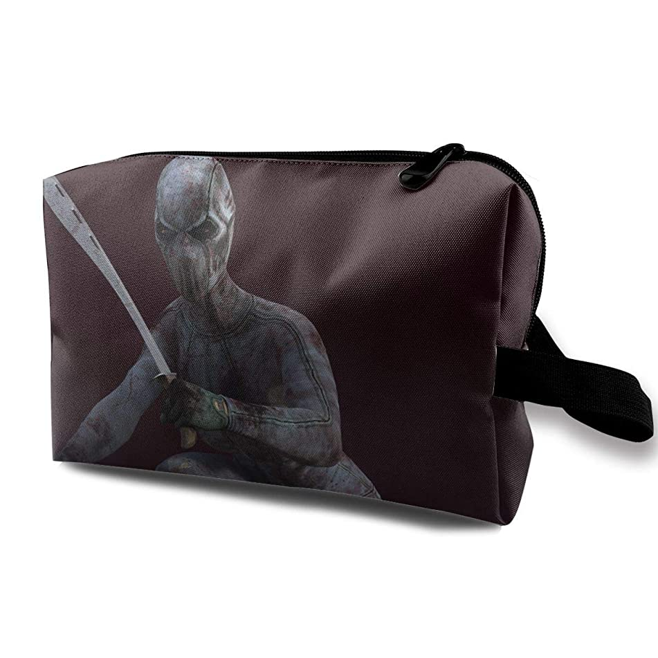 Scary Halloween Double-knife Bloody Weird Multi-function Travel Makeup Toiletry Coin Bag Case