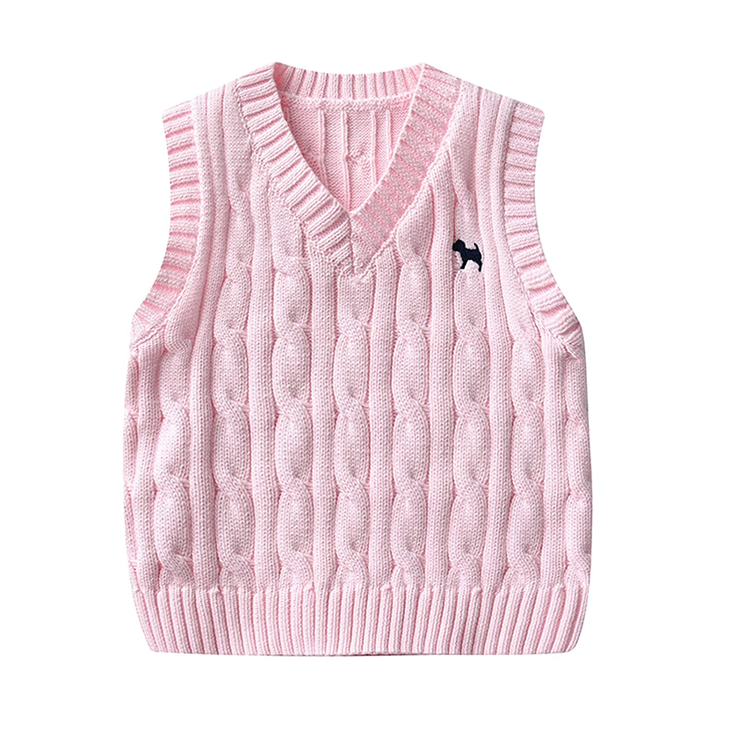 Children Sleeveless Sweater Boys Girls V Neck Knitted Vests Cotton Embroidery Doggy Pattern Kids Knitwear Jumpers,Pink 4-5 Years