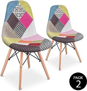 Pack 2chaises Salle à Manger Vintage Motif revêtement Style Patchwork Multicolore