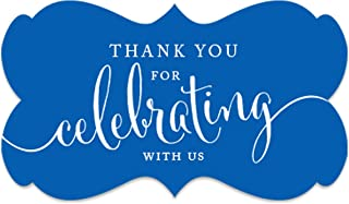 Andaz Press Fancy Frame Rectangular Label Stickers, Thank You for Celebrating with Us, Royal Blue, 36-Pack