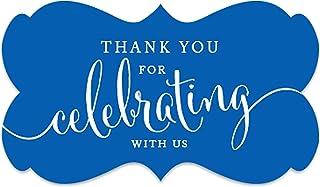 ملصقات ملصقات ملصقات ملصقات بعلامة مستطيلة الشكل عليها عبارة Thank You for Celebrating with Us باللون الأزرق الملكي، عبوة ...
