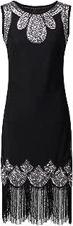 Women Fringe Embellished Sequin Beaded Flapper Dress Gatsby Tunic Top Shift Dress