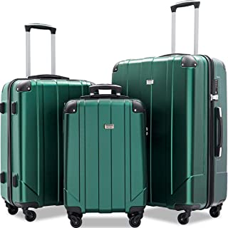 3 Pcs Luggage Set with Built-in TSA and Reinforced Corners, Eco-friendly P.E.T Light Weight Spinner Suitcase Set (Blackish Green)