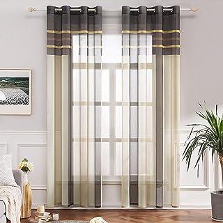 MIULEE Lot de 2 Rideaux Oeillet Voilage Moustiquaire Broderie d'impression de Rayure en Polyester Rideaux de Fenêtre Décor...