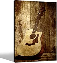 sechars - Acoustic Guitar Canvas Art Wall Decoration Music Art Picture Printed on Canvas Stretched and Framed Guitar on Rustic Wood Backdrop Wall Art Home Decor