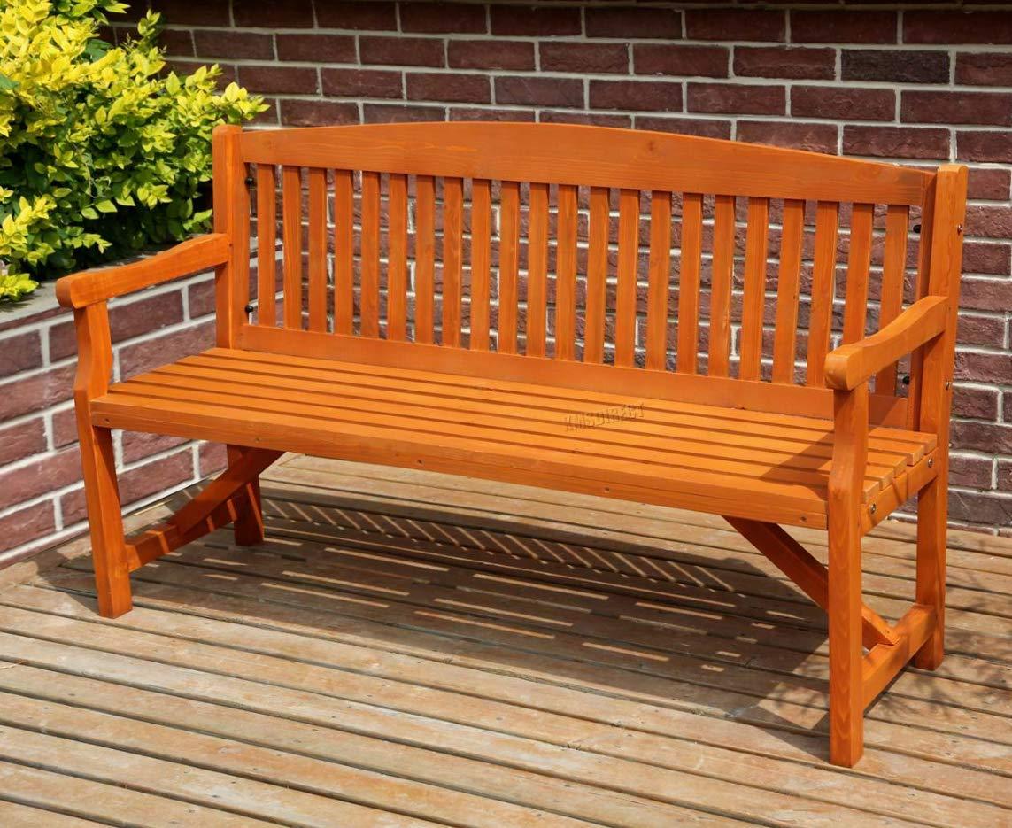 Banco grande de jardín rústico de madera para exteriores, muebles de patio de 2 3 plazas,