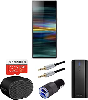 Sony Xperia 10 6-Inch Dual Camera Unlocked Smartphone (64GB, Silver) Bundle with SRSXB01 Bluetooth Speaker, Aluminum car Charger, Portable Battery Bank, and Extra 6ft USB-C Cable