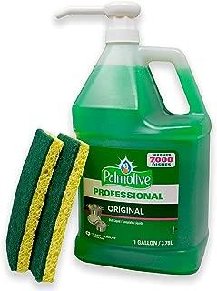 Palmolive Professional Liquid Dishwashing Dish Soap with Pump Dispenser, 2 Scrub Sponges and 1 Gallon Industrial Size Original Scent