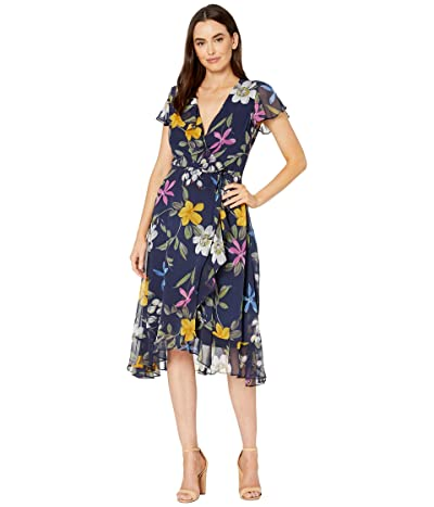Adrianna Papell Tropical Vine Printed Chiffon Faux Wrap Dress with Ruffle (Navy Multi) Women