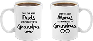 The Best Dads Get Promoted to Grandpa & Best Moms Get Promoted to Grandma | Premium 11oz Coffee Mug Gift Set - Grandparents Day Gifts, Grandma to be Gifts Christmas From Granddaughter Grandson Father