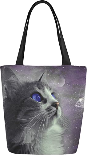 Funny Poodle Dog And Cat With Skis Print Canvas Top Handle Tote Bag Shoulder Bag Handbag for Women