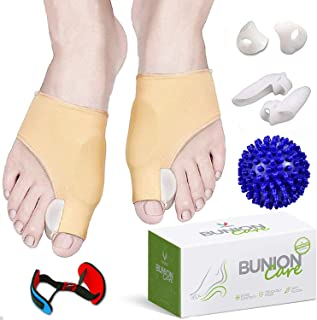 Bunion Corrector and Bunion Relief, Bunion Splint Socks Pads for Hallux Valgus, Big Toe Joint, Hammer Toe, Toe Separators Straighteners Spacers with Foot Massage Ball for Women and Men, 8 Pieces
