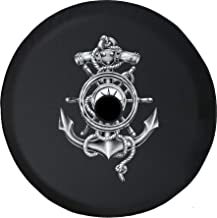 Pike Outdoors JL Series Spare Tire Cover Backup Camera Hole Ships Anchor Wheel Nautical Compass Rope Black 32 in