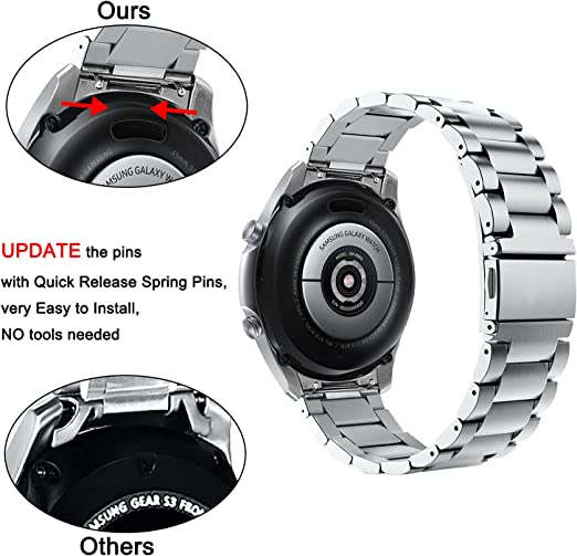 V-MORO Strap Compatible with Galaxy Watch 46mm(2019) Band/Gear S3 Band with Clips No Gaps Solid Stainless Steel Bracelet for Samsung Galaxy Watch 46mm(2019)/Gear S3 Classic Smartwatch Silver
