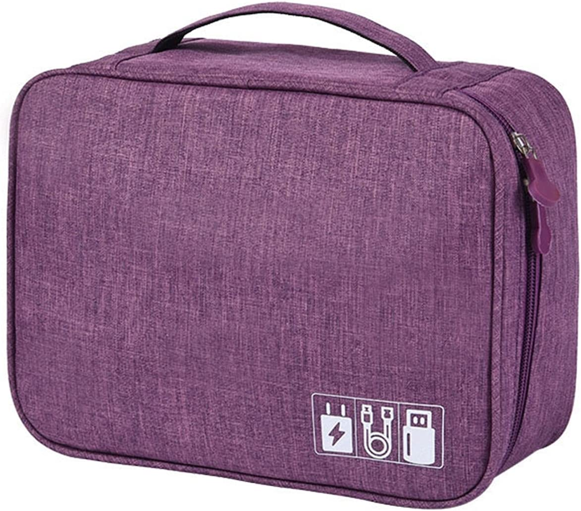 ASZX High-Grade Cation Fabric Cables Bag Portable Digital Storage Bags Organizer USB Gadgets Wires Charger Power Battery Zipper Case 827 (Color : Violet, Size : 24.518.510)