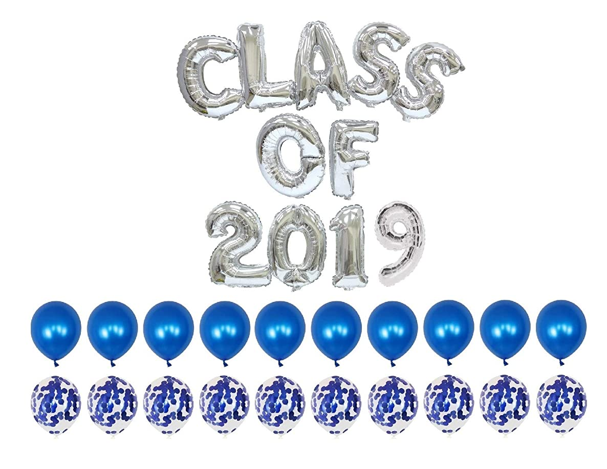 2019 Graduation Balloons-16Inch Class of 2019 Foil Balloons with Blue Latex Balloons/Confetti Balloons-Pack of 24,for Class of 2019 Graduation Decorations (Silver)