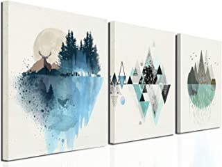 Geometric mountain decoration illustrations Canvas Wall Art Abstract Modern Geometry Mountain in Daytime Paintings 12inx16inx3 Panels Artworks Pictures Posters for Living Room Bedroom Bathroom Home Wa