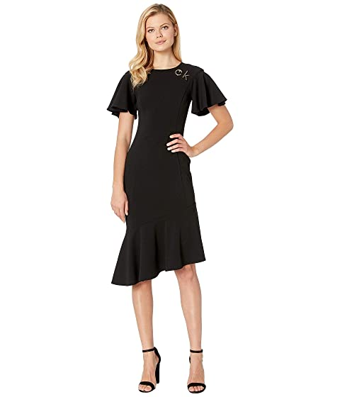 34313629 Calvin Klein Short Sleeve Ruffle Hem Dress with Logo Hardware ...