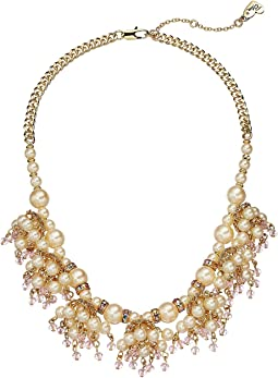 Blue by Betsey Johnson Pearl and Gold Tone Shaky Frontal Necklace