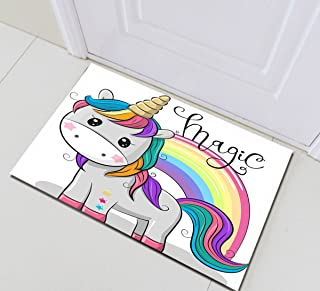 LB Cute Unicorn Floor Mat,Magic Cartoon Unicorn with Rainbow Creative Funny Unicorn Rug for Girls Bedroom 16x24 Inch Non-Slip Indoor Outdoor Unicorn Welcome Mat