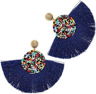 Beads Thread Long Tassel Dangle Drop Earrings Ethnic Geometric Charms Eardrop (Navy Blue)
