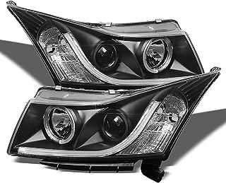 For 2011-14 Chevy Cruze Sedan LED Daytime Running Lamp Strip Projector Headlights Black Housing Clear Lens Full Set