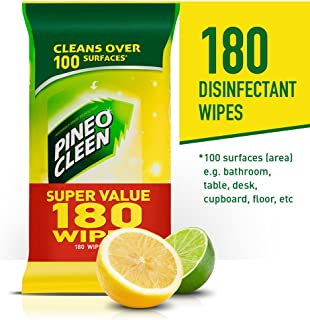 Pine O Cleen Surface Wipes for Grease and Grime Lemon and Lime, 180 pack, Lemon Lime