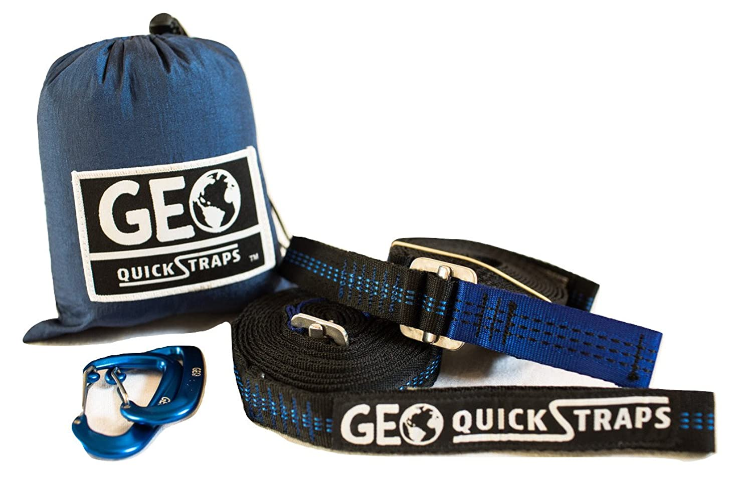 Hammock Straps XL (2) Quickstraps-New Design, Camping, Hammocking 2 Carabiners Set - Heavy Duty Portable Tree Friendly Easy Adjustable Hammock Accessories | Compatible w/ all Camping Hammocks - By GEO