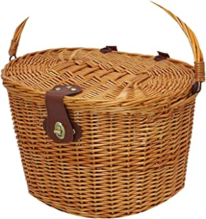 Vintage Wicker Bicycle Basket with Folding Lid & Leather Straps Handle Linen Outdoor Picnic Cycling Accessories