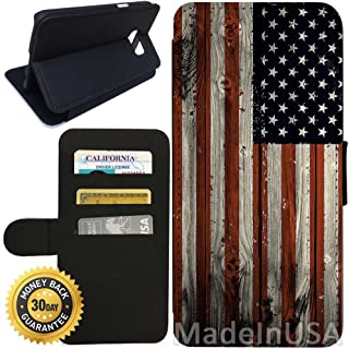 Flip Wallet Case for Galaxy S7 (American Flag on Wood) with Adjustable Stand and 3 Card Holders | Shock Protection | Lightweight | Includes Stylus Pen by Innosub