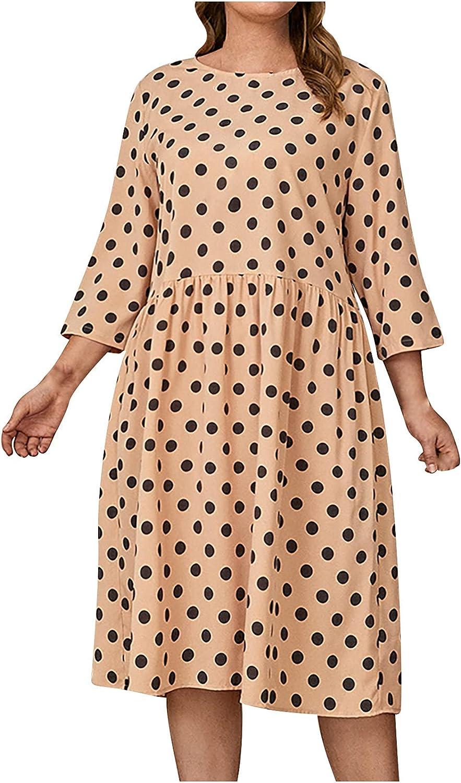 Summer Plus Size Dresses for Women Polka Dot Graphic Print Sundress Round Neck Beach Dress Casual 3/4 Sleeve Midi Skirt
