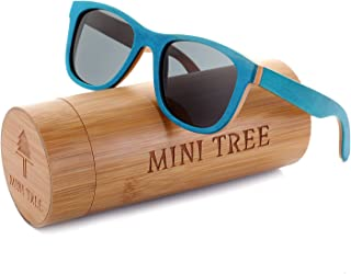 Women Skateboard Wood Sunglasses Polarized Men Sun Shades with Bamboo Case