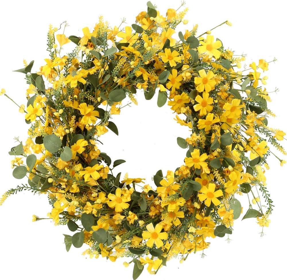 J'FLORU Decor Wreath,Yellow Ranking New Shipping Free Shipping TOP5 Wreath,22 inchesï¼ Daisy