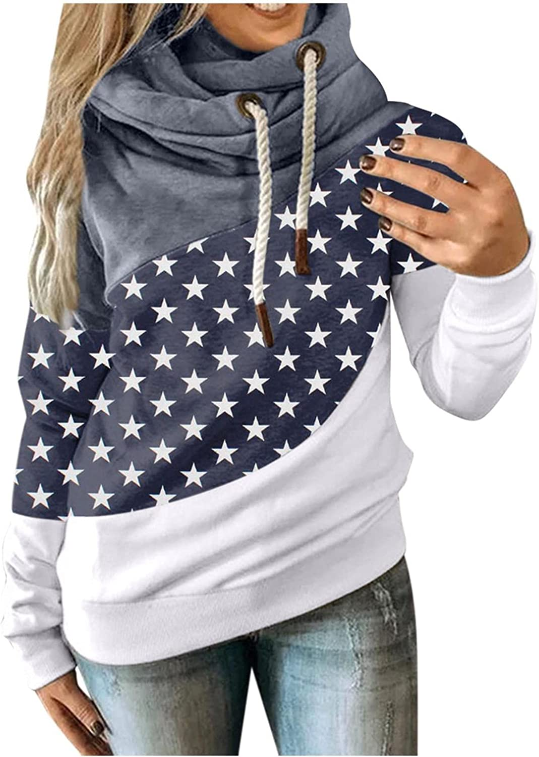UOCUFY Hoodies for Women,Casual Drawstring Pullover Long Sleeve Dot Printed Hoodies Cowl Neck Lightweight Sweatshirts