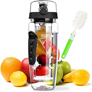 zikon technology llc Fruit Infuser Water Bottle 32 oz: Flavored Water & Tea Infusion for Hydration, Protein Shake Sports Container, Leak-Proof Lid, Long Infuser Basket – with Cleaner Brush -Black