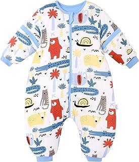 JinBei Saco de Dormir Invierno Mono Para Bebé Niños con Piernas, Mangas Largas Desmontables, Con Pies, Cálido Forro, Impresión de Gato Oso Cocodrilo Azul Pijama 2.5-4 Años