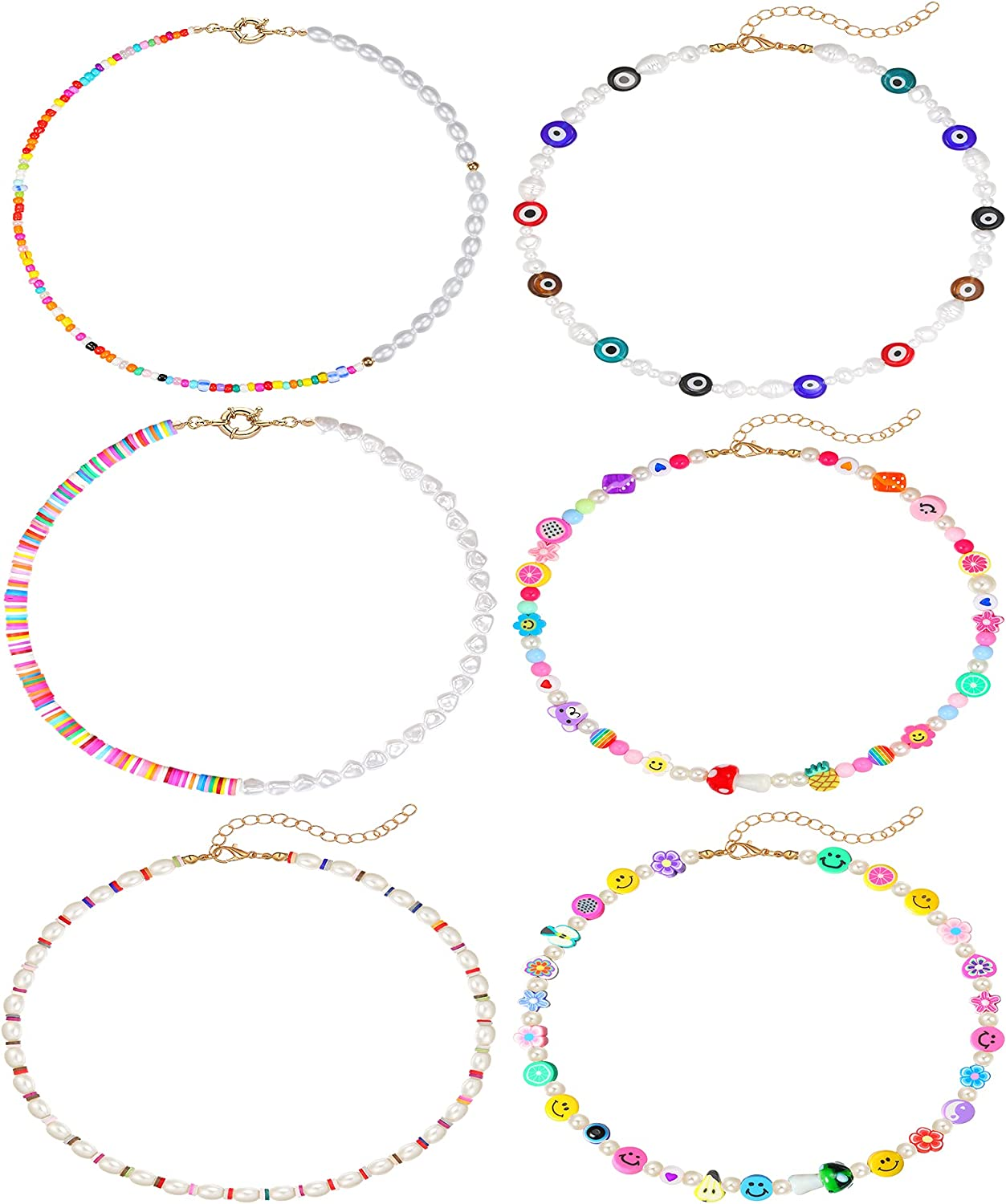 Honsny 6 Pieces Beaded Necklace for Women Smiley Face Evil Eye beaded choker Colorful Y2K Necklaces Jewelry