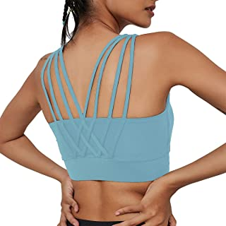 Strappy Sports Bras for Women Sexy High Impact Support Crisscross Removable Cups Yoga Workout Bra for Running Fitness