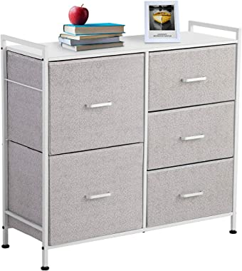 KINGSO Fabric 5 Drawer Dresser Storage Tower Organizer Unit with Sturdy Steel Frame and Easy-Pull Faux Linen Drawers for Bedr