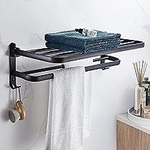 Aikzik Handdoekstang, handdoekhouder, zonder boren, met 2 haken, zwart, handdoekhouder, zelfklevend, voor badkamer en keuk...