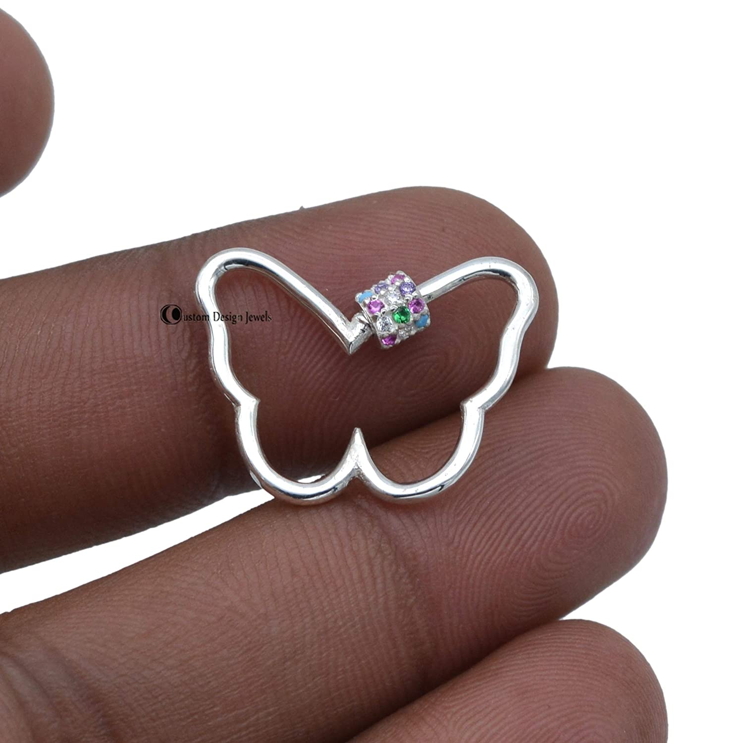 Tulsa Mall Multi Sapphire Gemstone Butterfly Carabiner J 9K Solid Lock Gold Sale Special Price