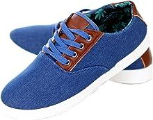 Reslad Sneaker Herren Schuhe Denim Look Patched Low Cut Schnürer RS-88276