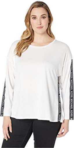 Plus Size Logo Tape Long Sleeve Top