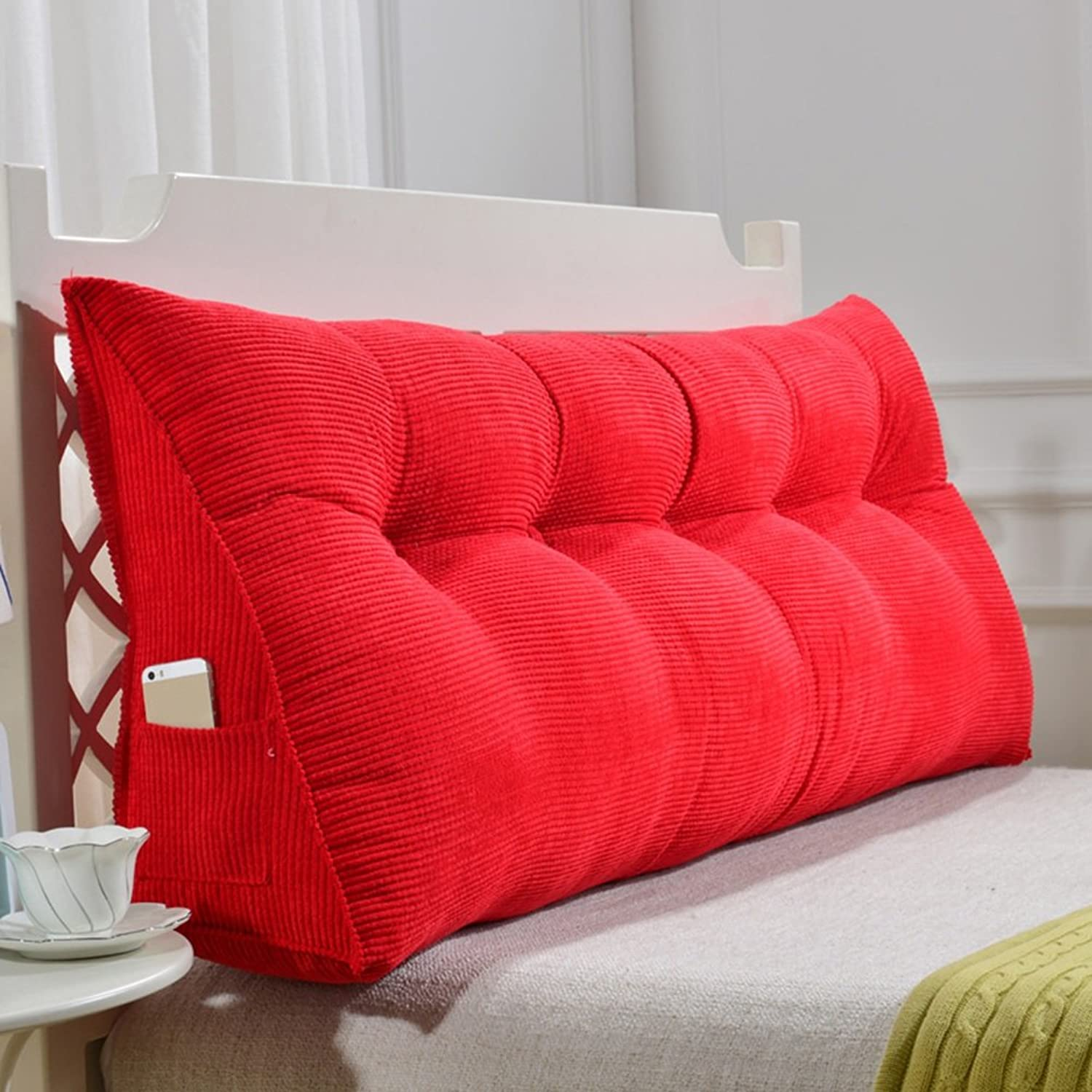 WENZHE Upholstered Fabric Headboard Bedside Cushion Pads Cover Bed Wedges Backrest Waist Pad Cloth Art Soft Case Home Bedroom Large Back Sofa Pillow Multifunction Washable, Independent Liner, 5 colors, 9 Sizes Optional ( color   Red , Size   90×50×20cm )